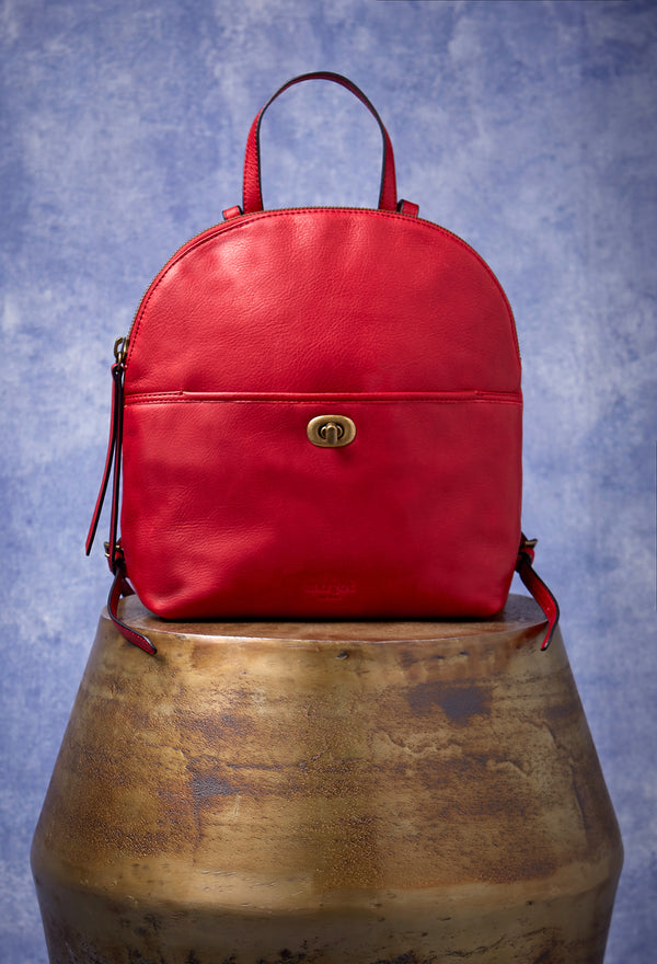 Camille Turnlock Backpack in Cherry Red