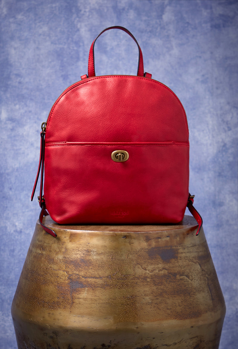 Camille Turnlock Backpack in Cherry