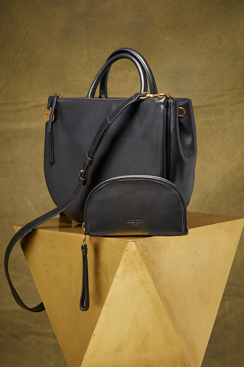 Selene Double Compartment Versatile Tote in Black