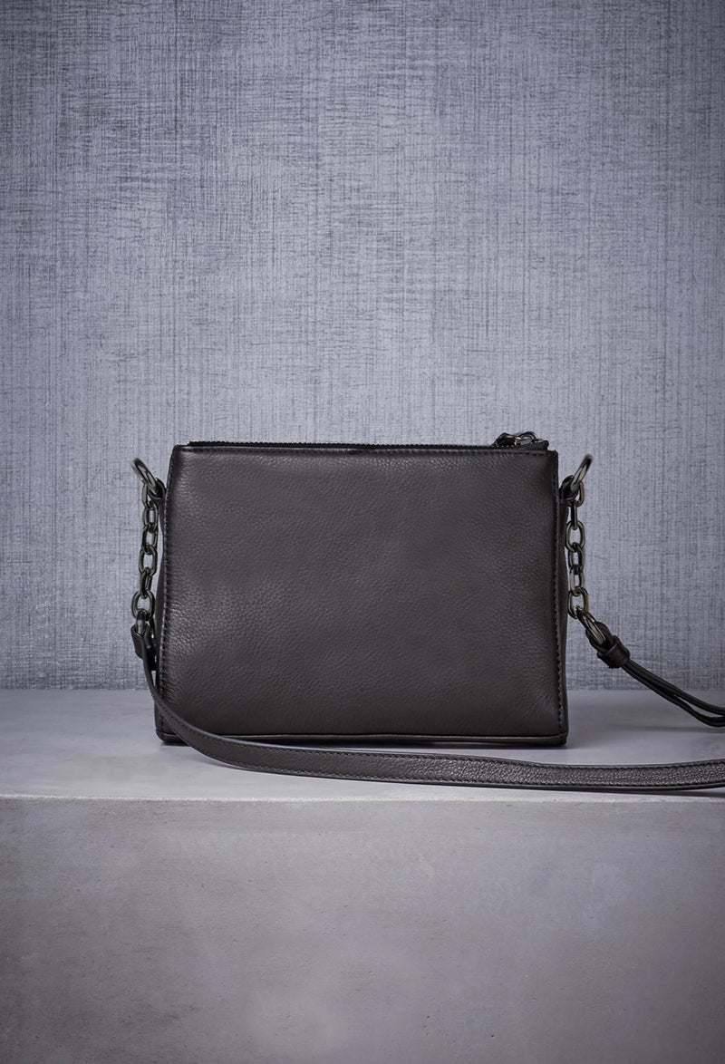 Jules with Chain Crossbody in Black-Gunmetal