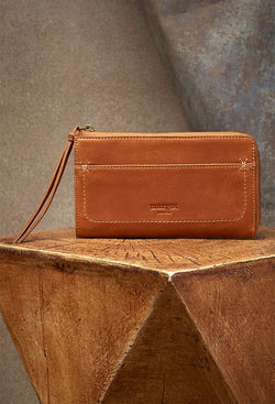 Kaley Cross-Stitch Wallet in Cognac-image of front