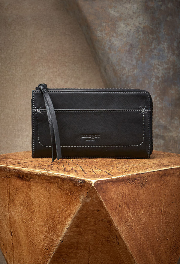 Kaley Wallet in Genuine Leather Rich Black-front view