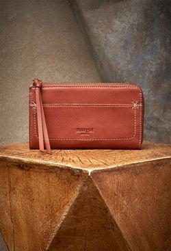 Kaley Cross-Stitch Wallet in Brandy-front view
