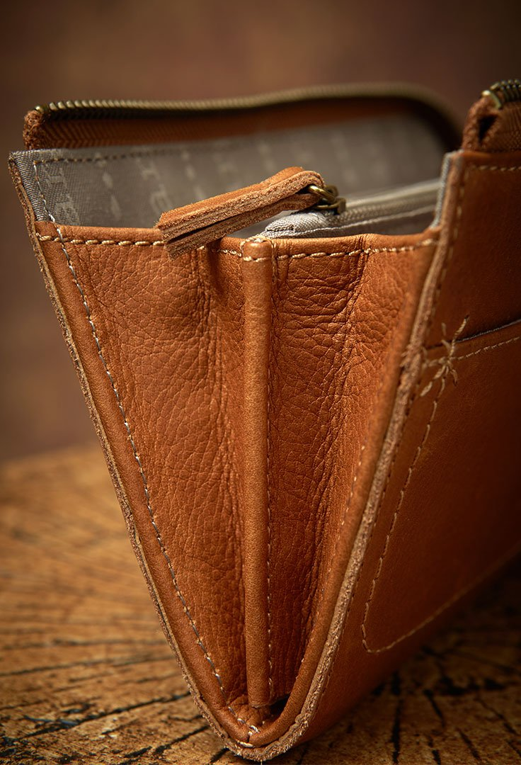 Kaley Cross-Stitch Wallet in Cognac-closeup