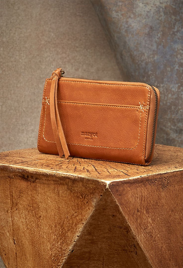 Kaley Wallet in Cognac Genuine Leather-side view