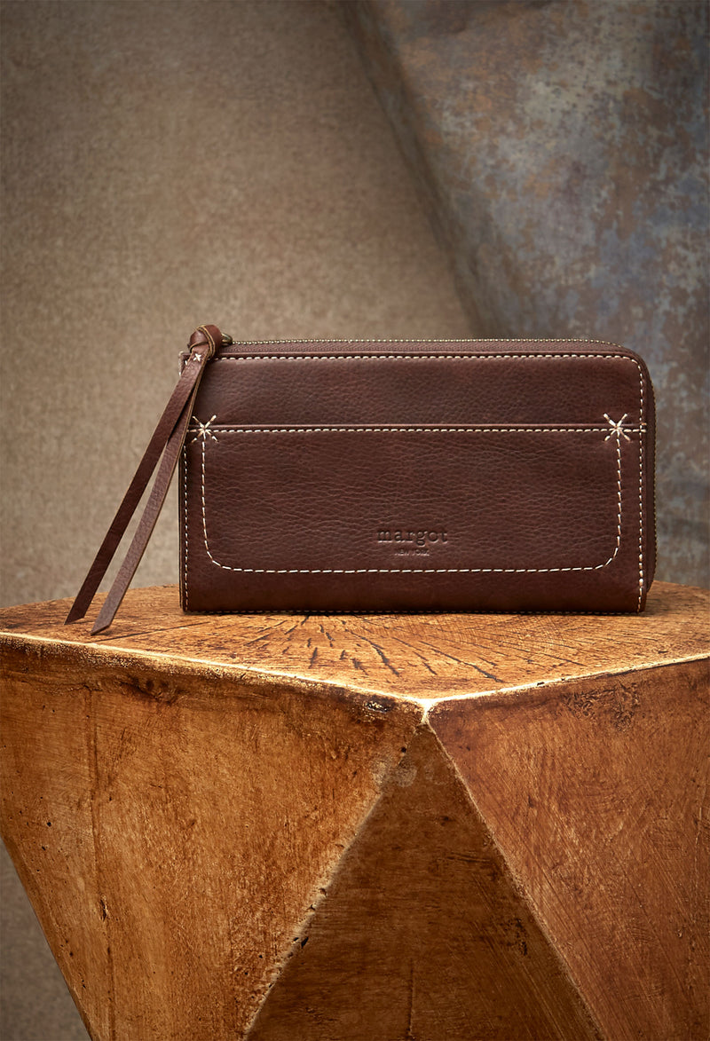 Kaley Wallet in Brandy Genuine Leather-front view