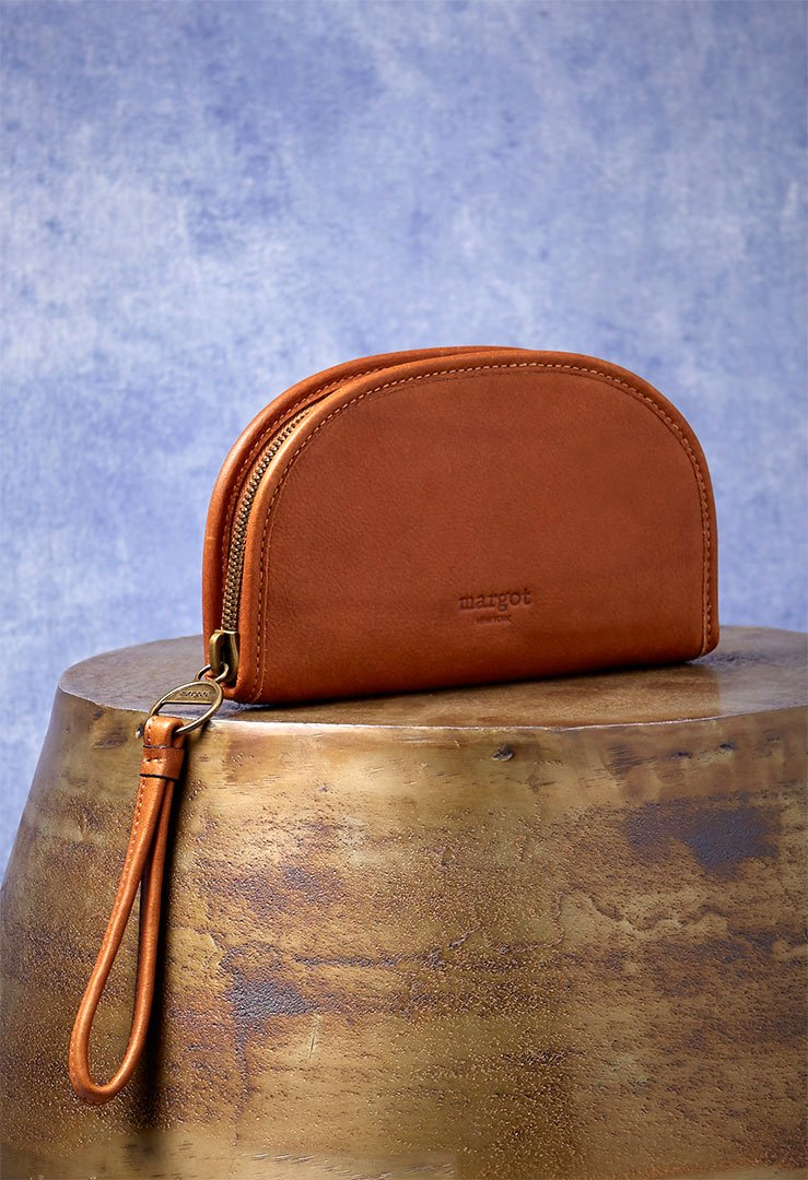 Luna Wallet in rich genuine leather tan
