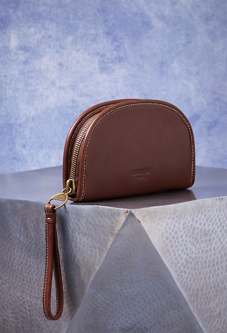 Luna Half Moon Wallet in Genuine Leather Brown