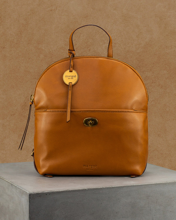 Camille Turnlock Backpack in Cognac
