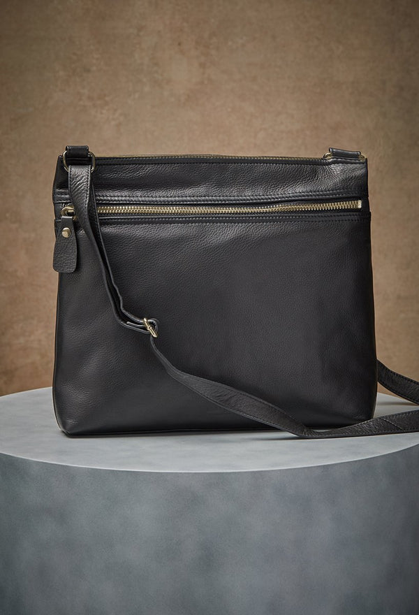 lorna hobo bag in black front shot