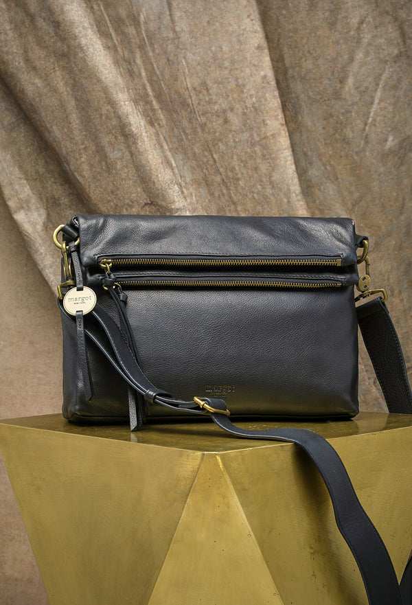 Mickey Double Zip Versatile Hobo in Black