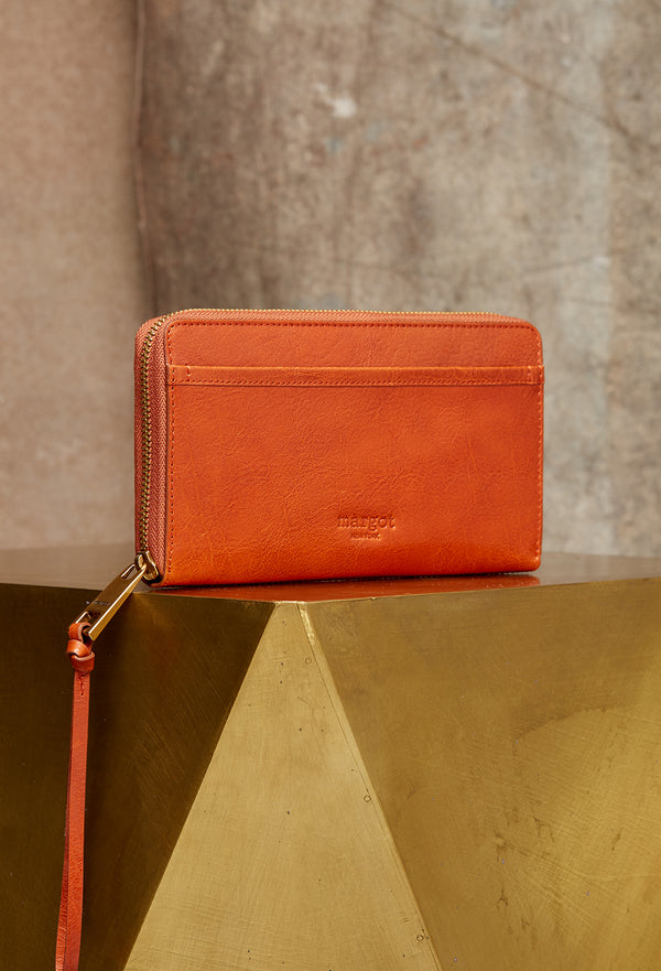 Gabby Wristlet Zip Around Wallet in Orange