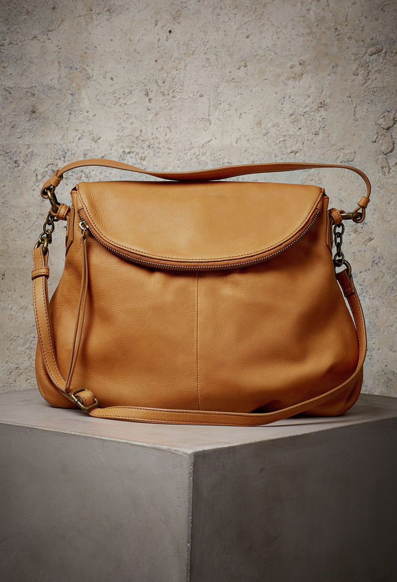 Adelle Hobo with Chain in Cognac