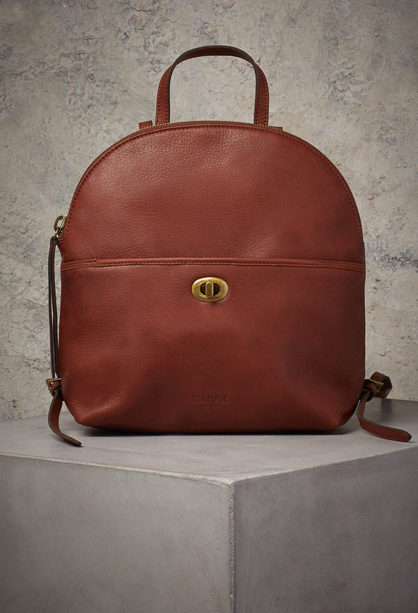 Camille Turnlock Backpack in Brandy