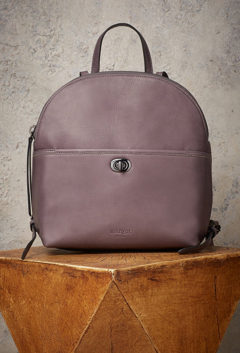 Camille Turnlock Backpack in Grey