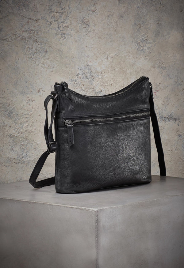 Mary Scoop Crossbody in Black-Gunmetal