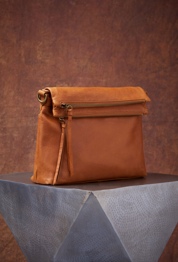 Mickey Double Zip Versatile Hobo in Cognac