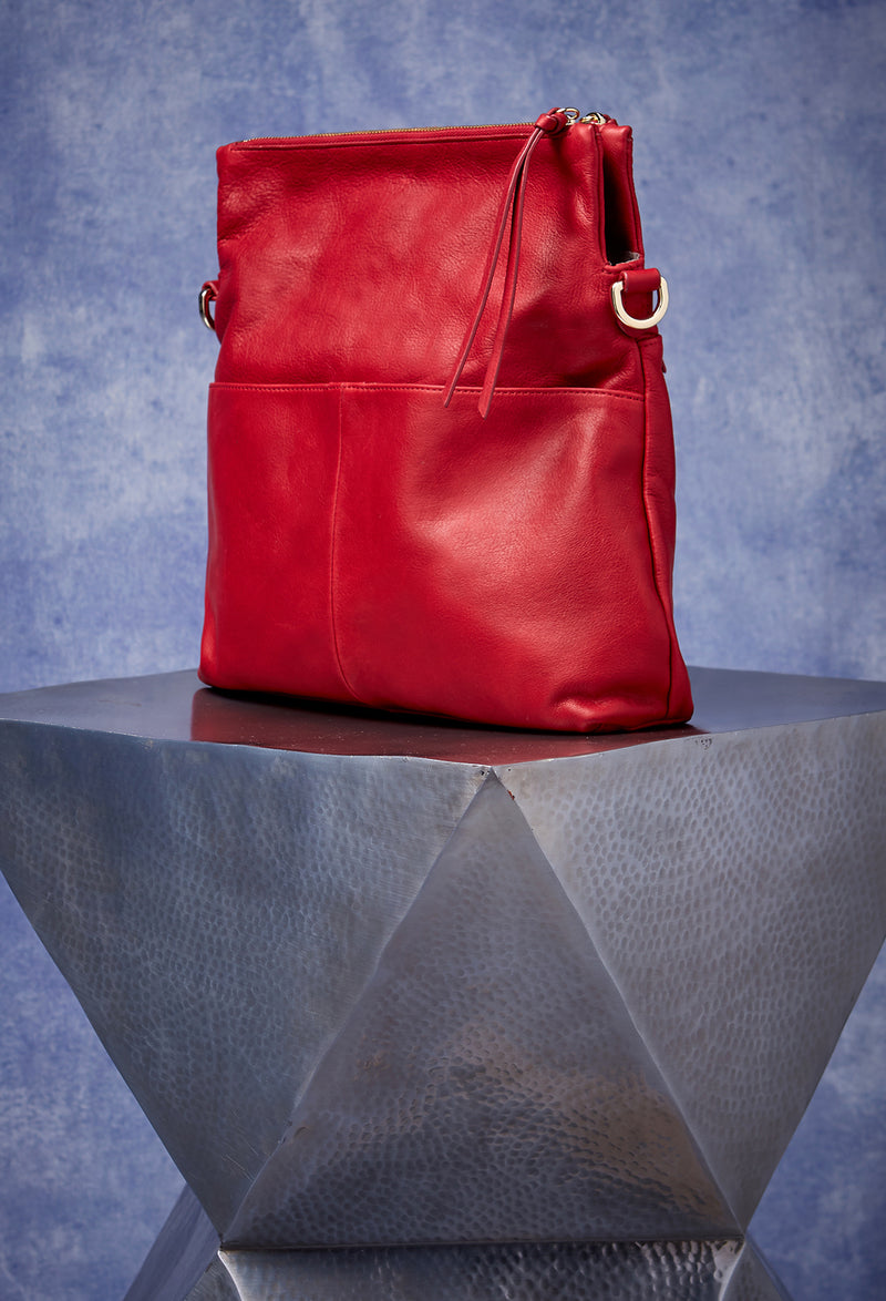 Mickey Double Zip Versatile Hobo in Cherry