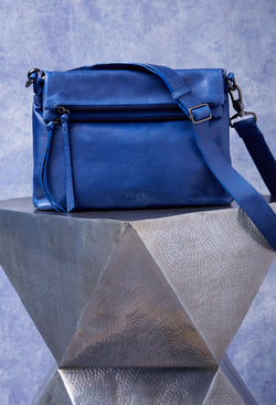 Mickey Double Zip Versatile Hobo in Cobalt Blue