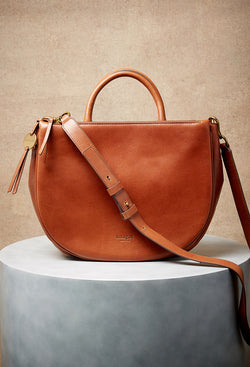 Selene Double Compartment Versatile Tote in Brandy