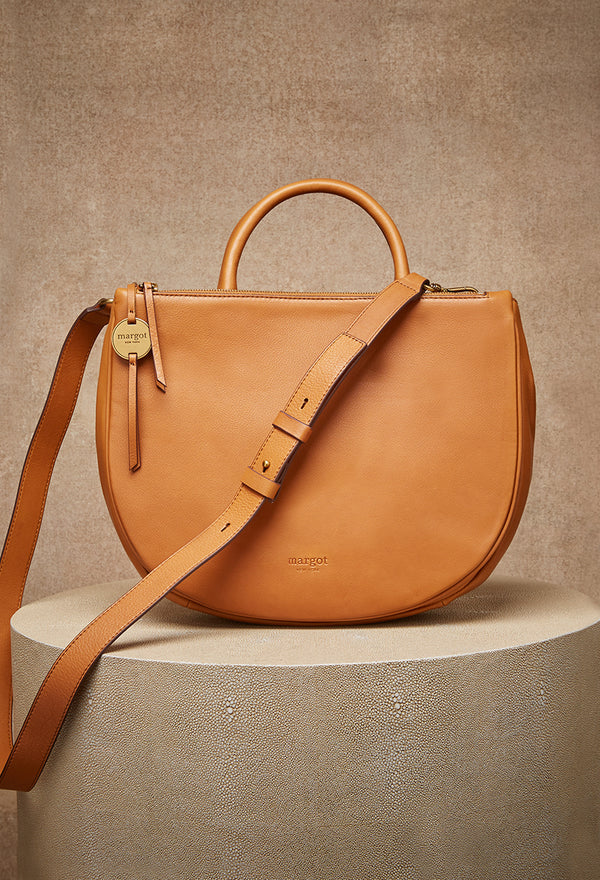 Selene Double Compartment Versatile Tote in Cognac