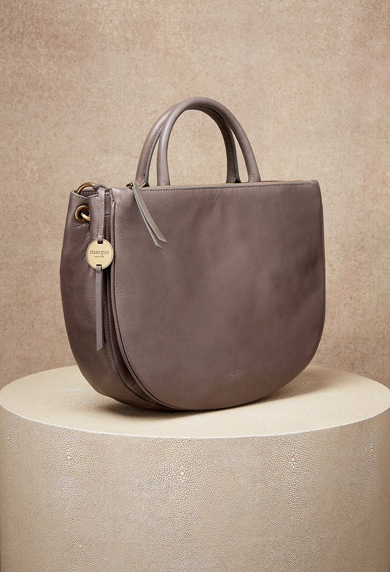 Selene Double Compartment Versatile Tote in Grey
