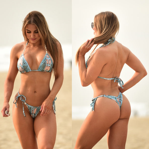 Light Blue Snake Posing Suit | Scrunch Butt Bikini | NPC/IFBB Practice Suit