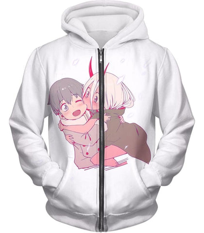 Image of Darling In The Franxx Cute Hiro And Zero Two Tank Top Zip Up Hoodie / Xxs