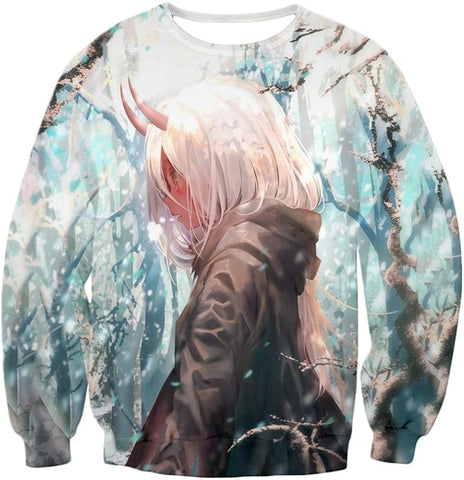 Image of Darling In The Franxx Poor Zero Two Zip Up Hoodie Sweatshirt / Xxs