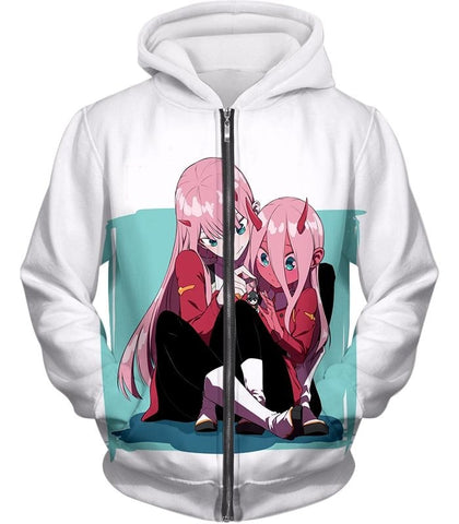 Image of Darling In The Franxx Zero Two Hoodie Zip Up / Xxs