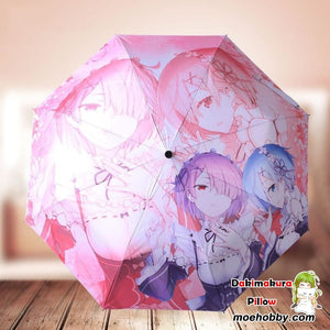 Re:zero Starting Life In Another World Ram And Rem Foldable Anime Umbrella