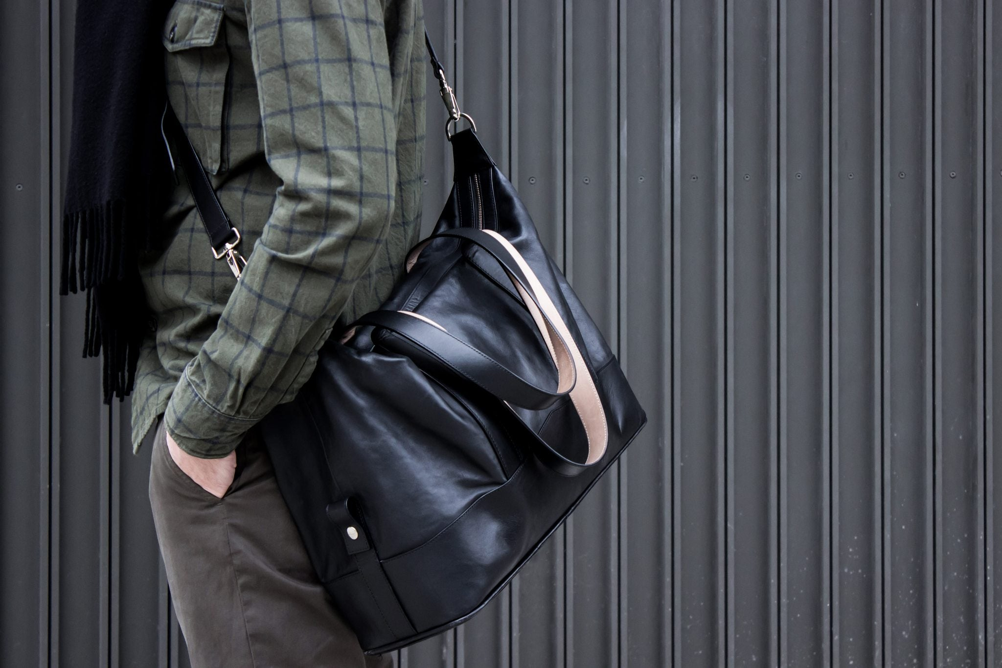 All Leather Overnight Bag
