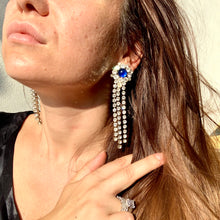 Load image into Gallery viewer, earrings strass blue pearl lady d orecchini vintage