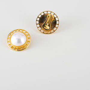earrings 80s with pearl and gold