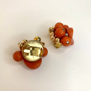 vintage earrings italian style red pearls orecchini