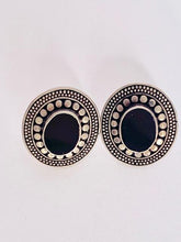 Load image into Gallery viewer, vintage earrings arabic with onyc and silver orecchini etnici in onice e argento 925