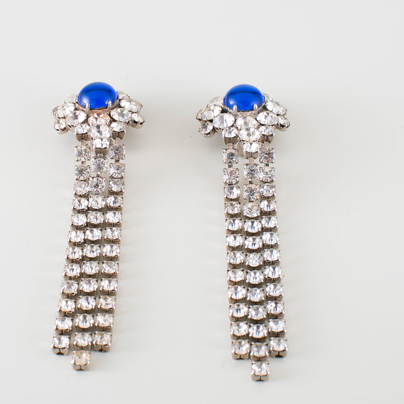 long earrings blue pearl