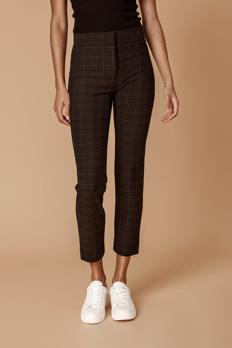 The Tailored Ankle Pant in Tan Plaid