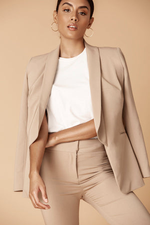Shawl Collared Boyfriend Jacket in Camel