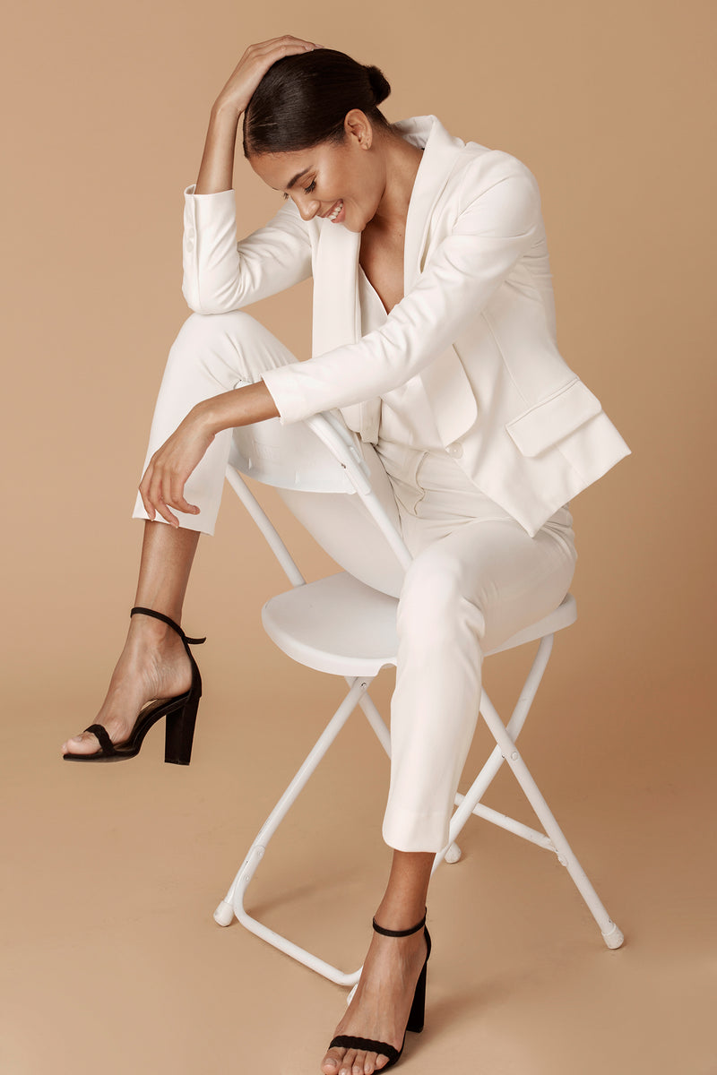 The Tailored Ankle Pant in White Ivory