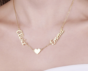 Load image into Gallery viewer, Necklace with heart: 2 names