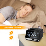 Bluetooth Radio Alarm Clock with Speaker * 2 USB Ports * LED Digital Clock * Home or Office