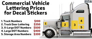 Commercial Vehicle Lettering Prices for Decal Stickers | Cost of Professional USDOT Vinyl Lettering for Trucks