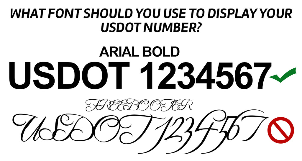 what font should you use to display your usdot number?