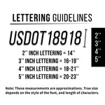 Curved Company Name 2 Line with 2 Regulation Numbers Truck Decal, USDOT