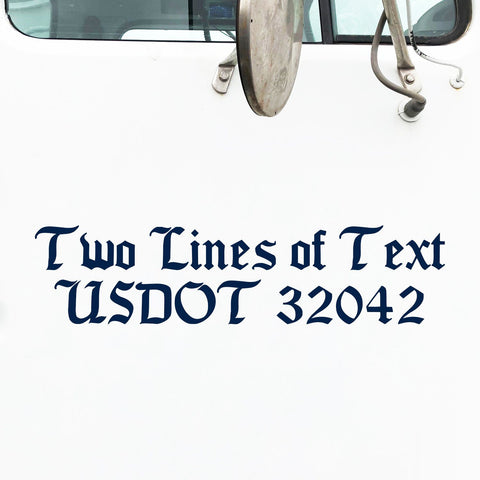 2 Lines of Text Decal Sticker for Semi Truck Lettering