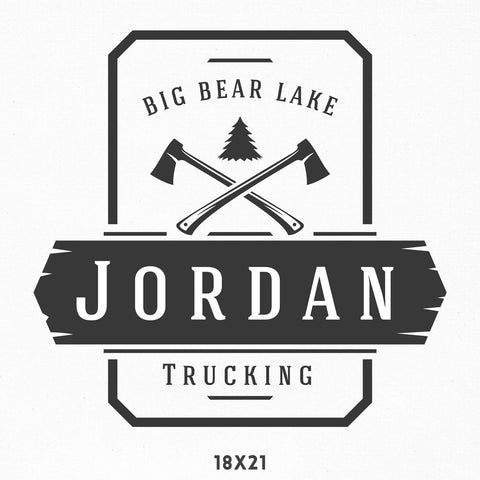 Company Name Decal for Business, Lumberjack, Pacific Northwest Style