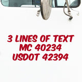 3 Lines of Text Semi Truck Decal, USDOT, MC
