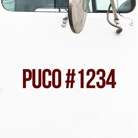 PUCO Number Decal Sticker