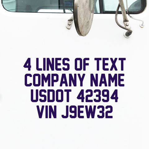 4 Lines of Text Decal, USDOT, MC, VIN